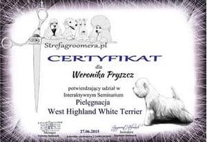 Certyfikat Pielęgnacji rasy West Highland White Terrier